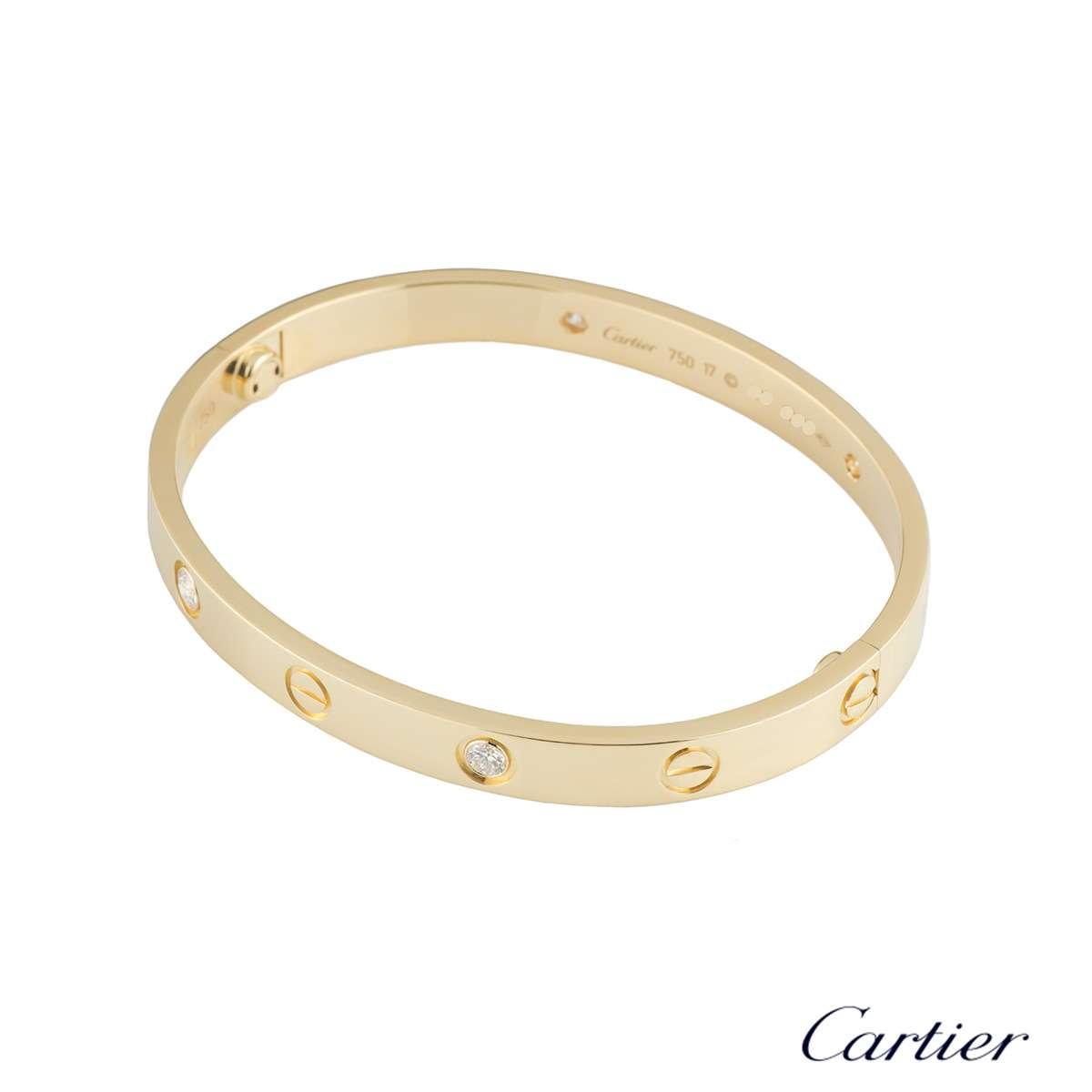 Cartier Yellow Gold Half Diamond Love Bracelet Size 16 B6035916